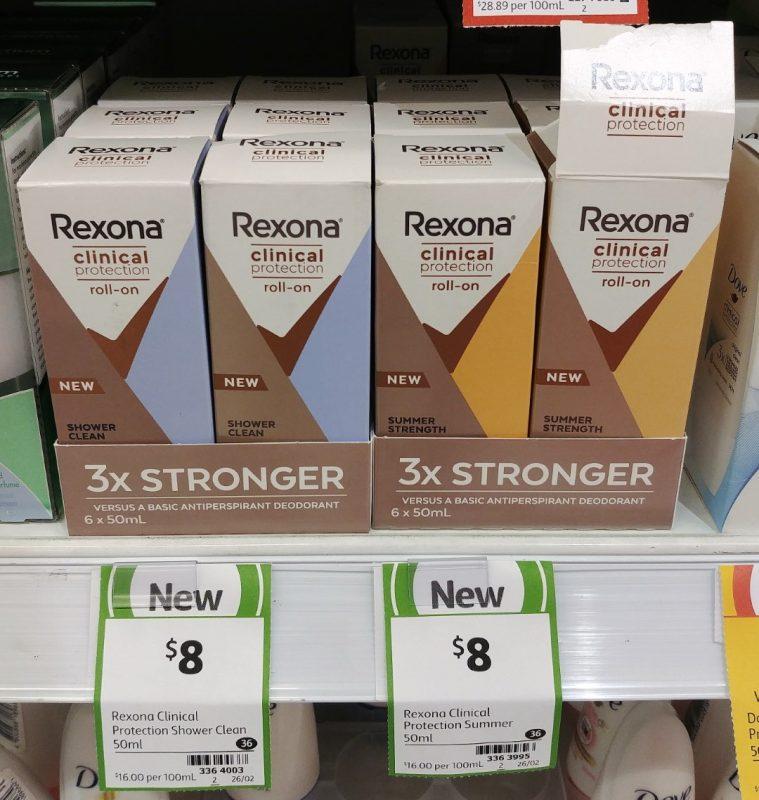 Rexona 50mL Antiperspirant Deodorant Men Clinical Protection Shower Clean, Summer Strength
