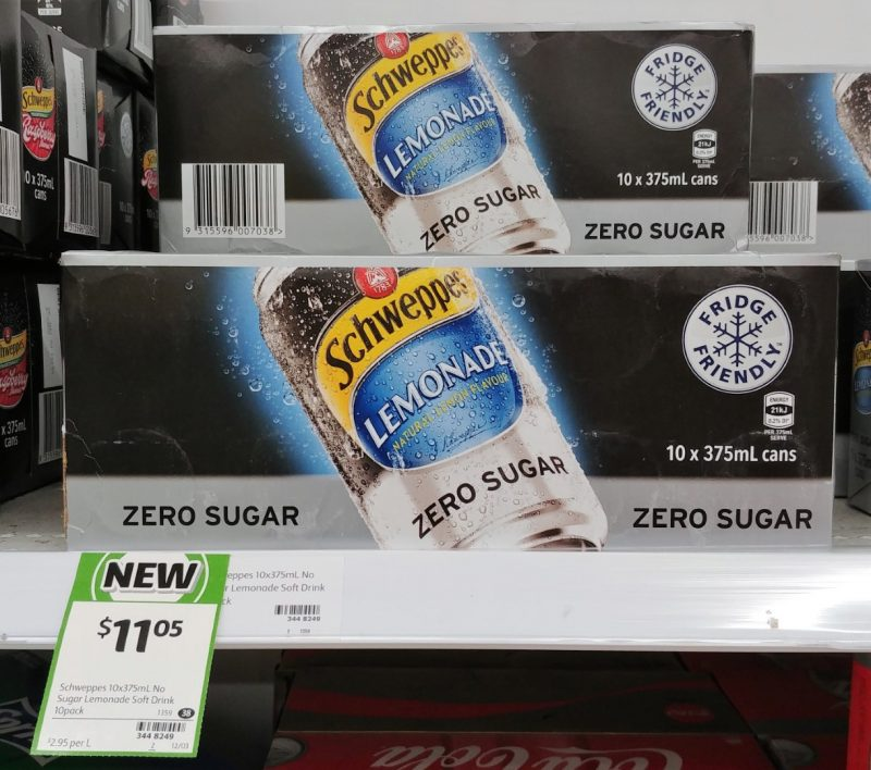 Schweppes 10 X 375mL Zero Sugar Lemonade