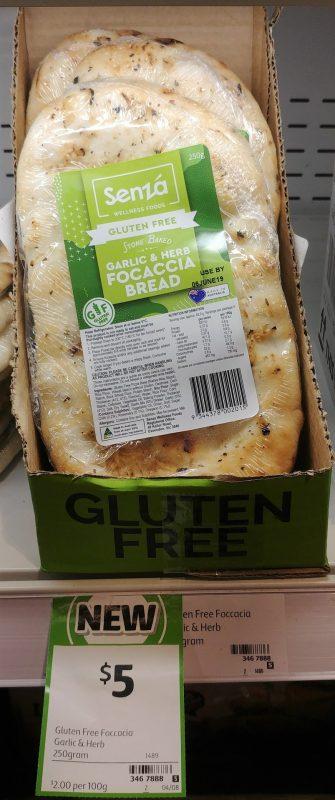 Senza 250g Bread Focaccia Garlic & Herb