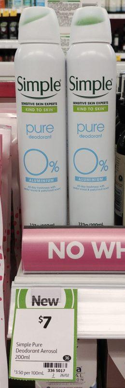 Simple 200mL Pure Deodorant