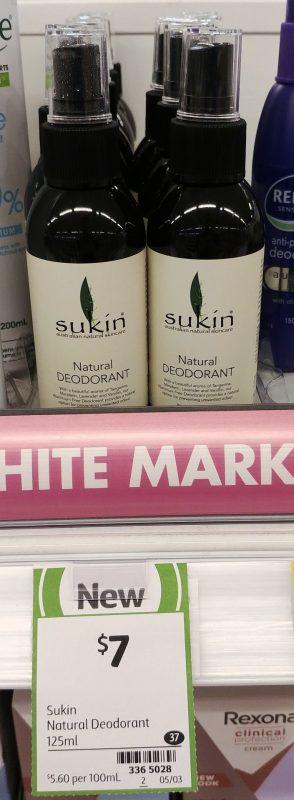 Sukin 125mL Deodorant Natural