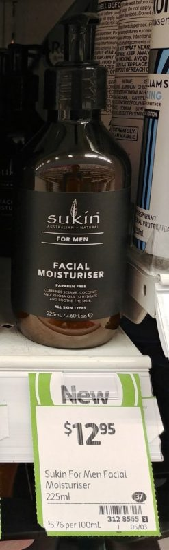 Sukin 225mL For Men Facial Moisturiser