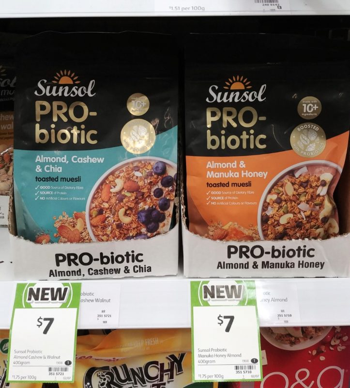 Sunsol 400g PRO Biotic Toasted Muesli Almond Cashew & Chia, Almond & Manuka Honey