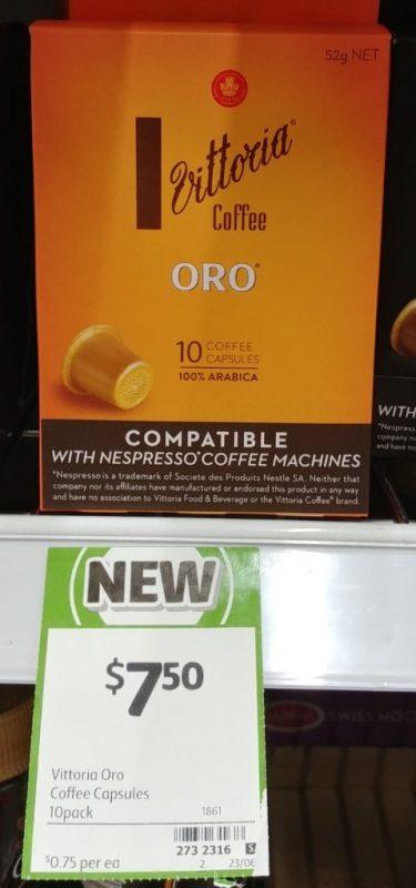 Vittoria 10 Pack Oro Coffee Capsules Arabica