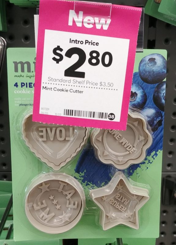 Woolworths 4 Pack M.i.n.t Cookie Cutter