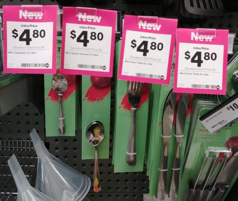 Woolworths 4 Pack M.i.n.t Teaspoon, Spoon Dessert, Fork Table, Knife Table
