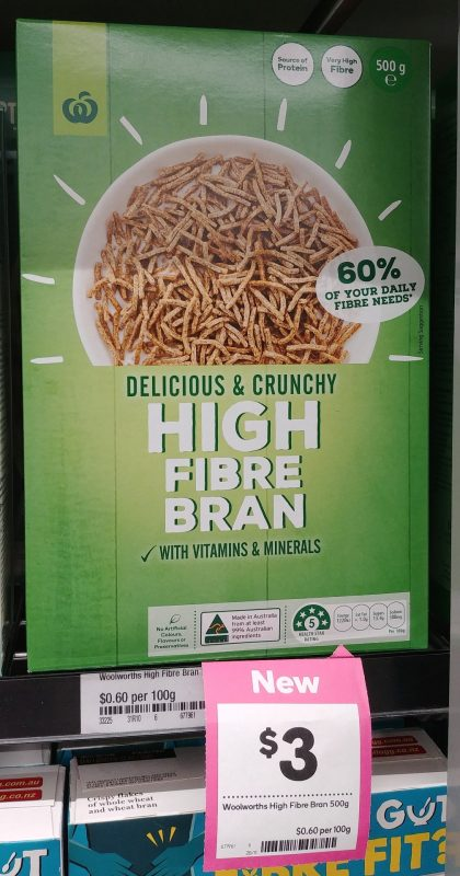 Woolworths 500g Cereal High Fibre Bran 7