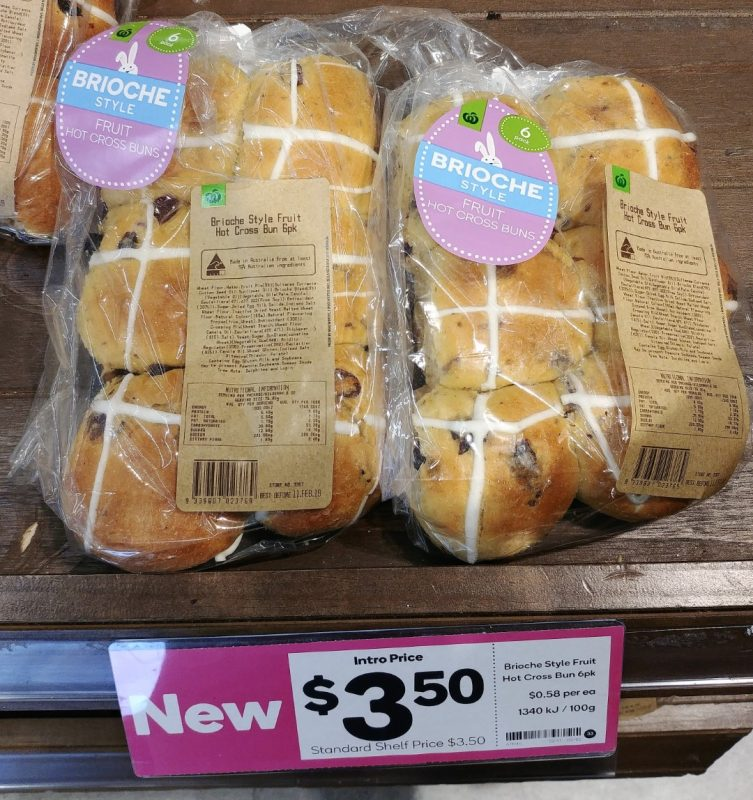 Woolworths 6pk Fruit Hot Cross Buns Brioche Style