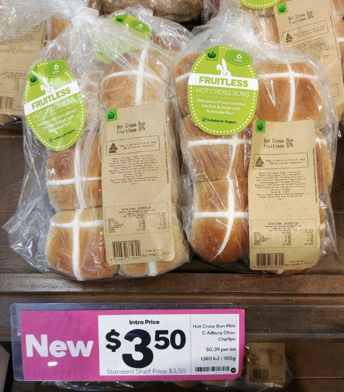 Woolworths 6pk Hot Cross Buns Fruitless