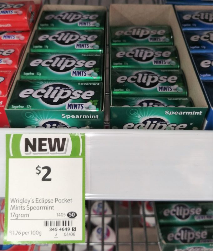 Wrigley's 17g Eclipse Mints Spearmint