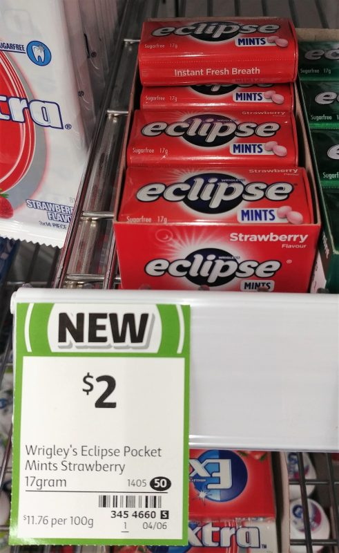 Wrigley's 17g Eclipse Mints Strawberry
