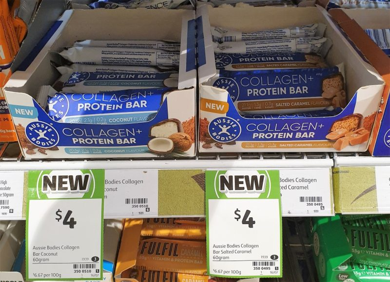 Aussie Bodies 60g Collagen + Protein Bar Coconut, Salted Caramel