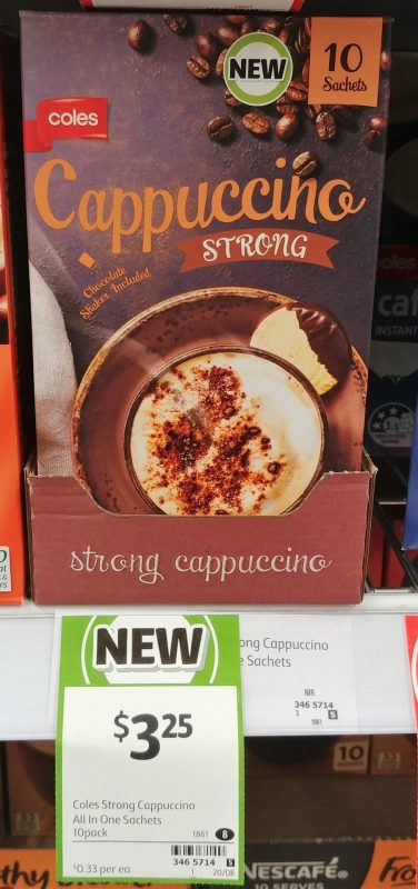 Coles 10 Pack Sachets Cappuccino Strong