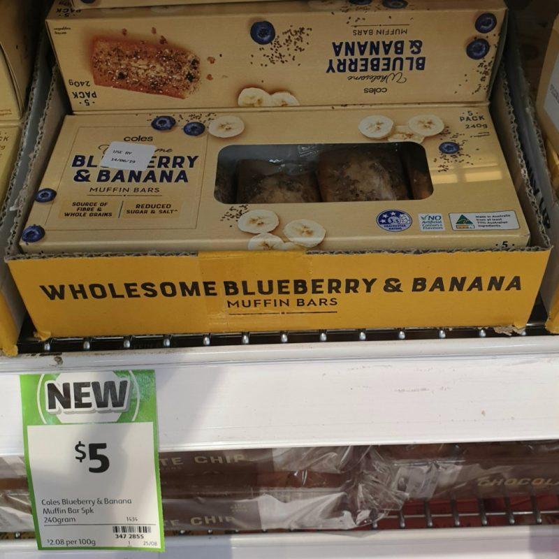 Coles 240g Muffin Bars Blueberry & Banana