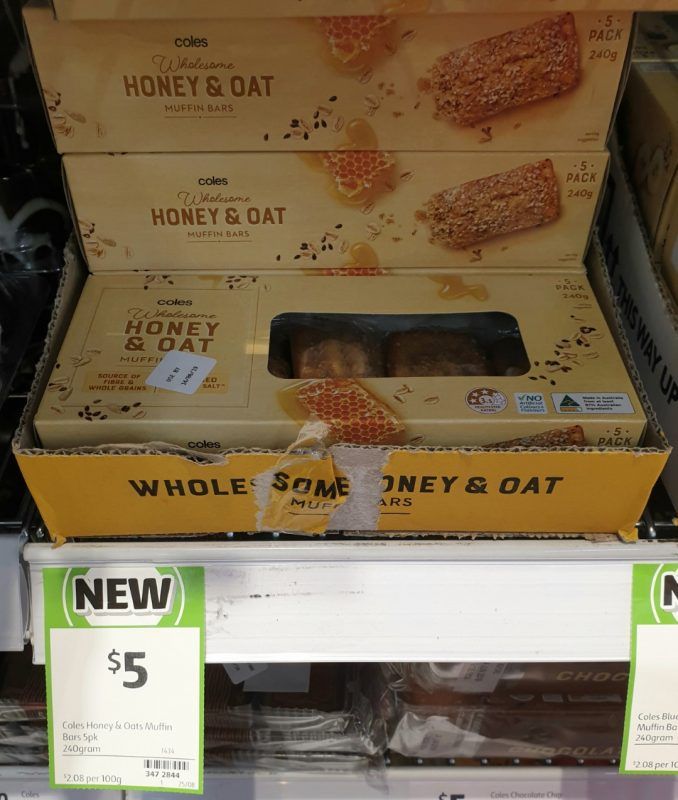 Coles 240g Muffin Bars Honey & Oat