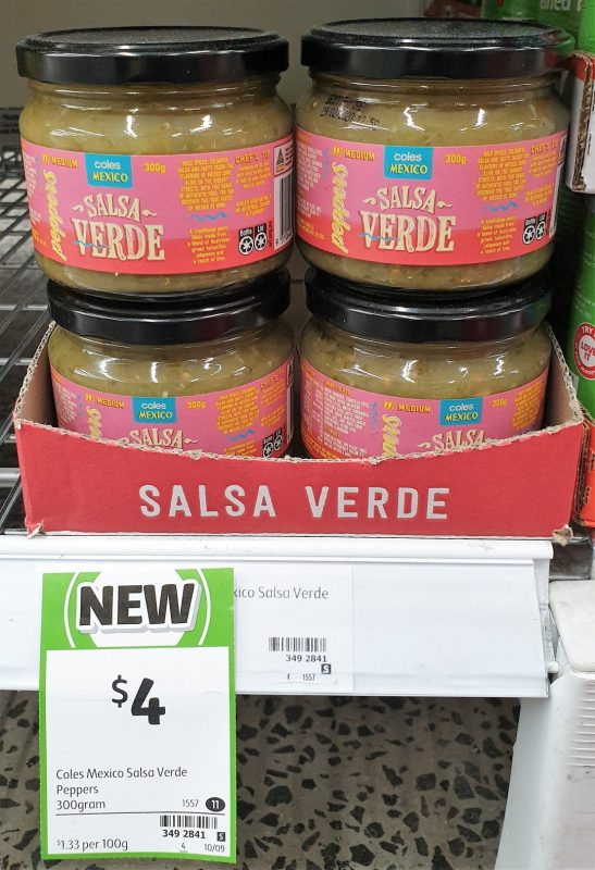 Coles 300g Mexico Salsa Peppers Verde