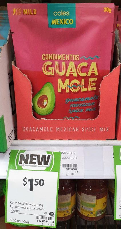 Coles 30g Mexico Spice Mix Condimentos Guacamole