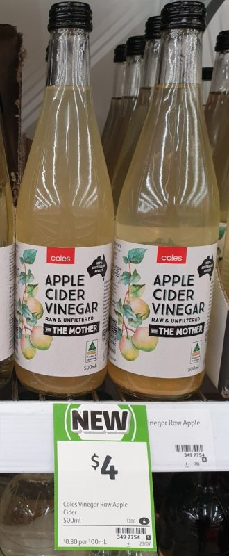 Coles 500mL Vinegar Apple Cider Raw & Unfiltered