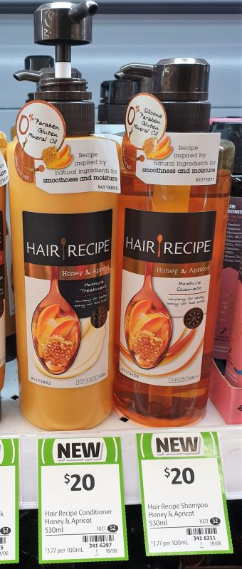 Hair Recipe 530mL Moisture Treatment, Shampoo Honey & Apricot