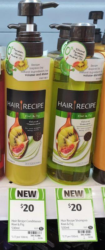 Hair Recipe 530mL Volume Treatment, Shampoo Kiwi & Fig