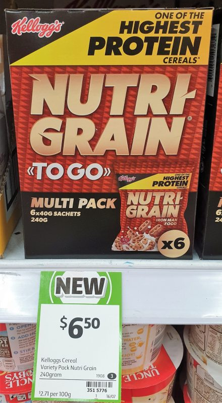 Kellogg's 240g Nutri Grain To Go Multi Pack
