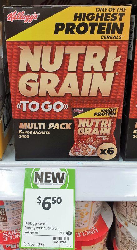Kellogg's 240g Nutri Grain To Go Multi Pack