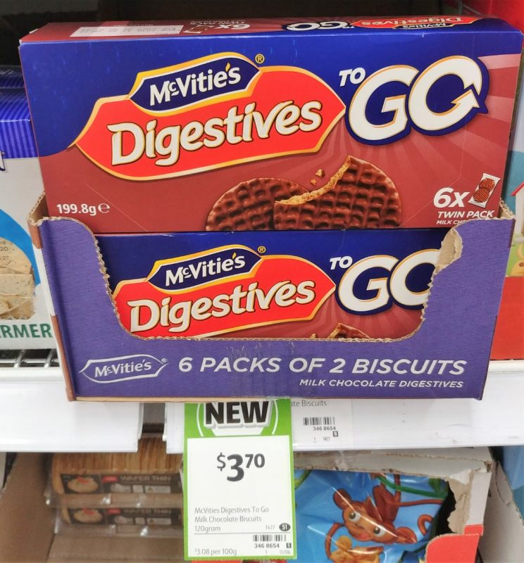 McVitie's 199.8g Digestives To Go Milk Chocolate