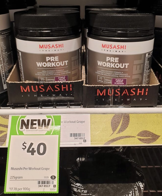 Musashi 225g Pre Workout Supplemented Food Purple Grape Flavour