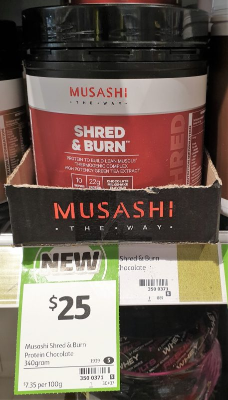 Musashi 340g Shred & Burn Protein Chocolate Milkshake Flavour