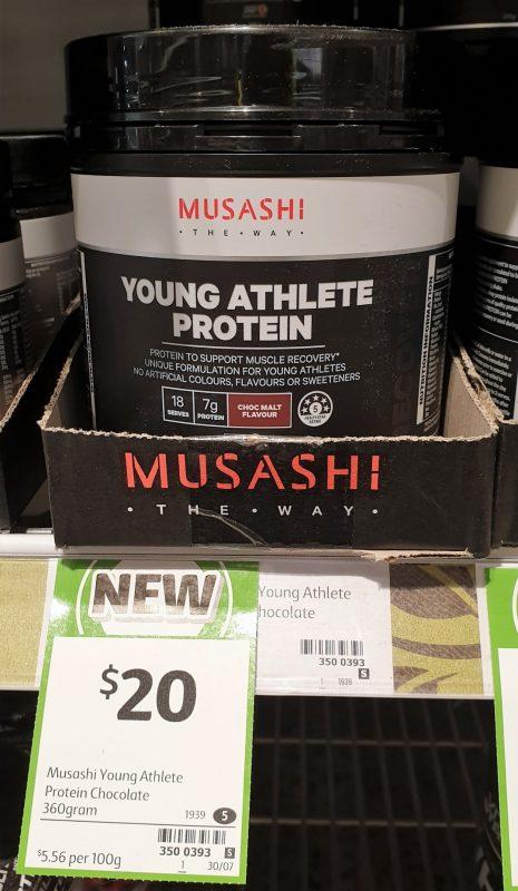 Musashi 360g Young Athlete Protein Choc Malt Flavour