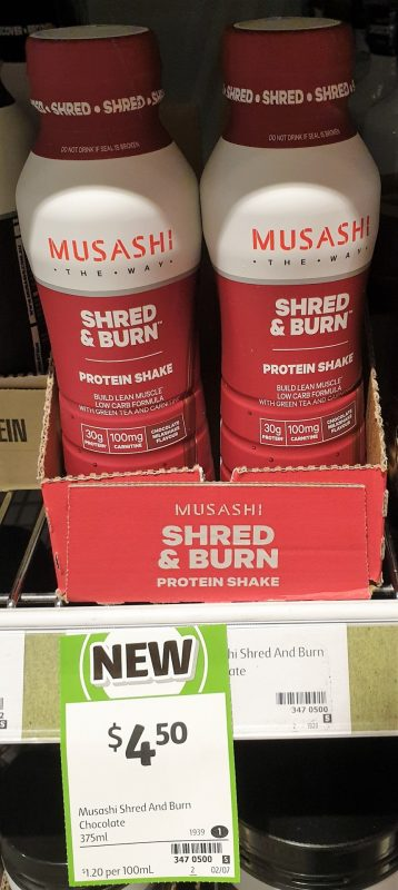 Musashi 375mL Shred & Burn Protein Shake Chocolate Milkshake Flavour