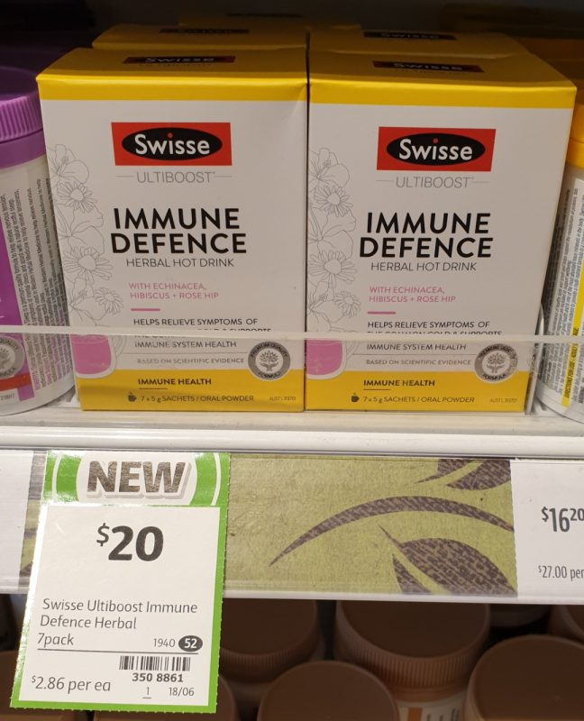 Swisse 35g Ultiboost Herbal Hot Drink Immune Defence