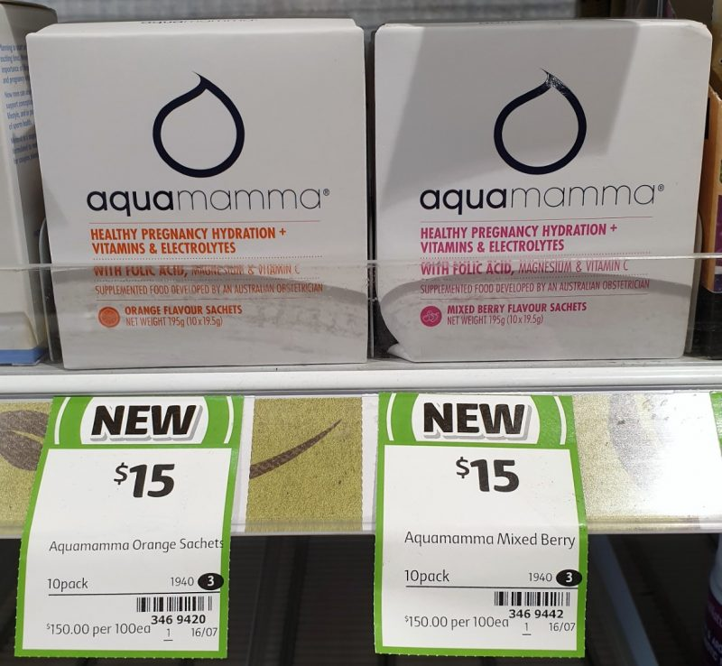 Aqua Mamma 195g Healthy Pregnancy Hydration + Vitamins & Electrolytes Sachets Flavour Orange, Mixed Berry