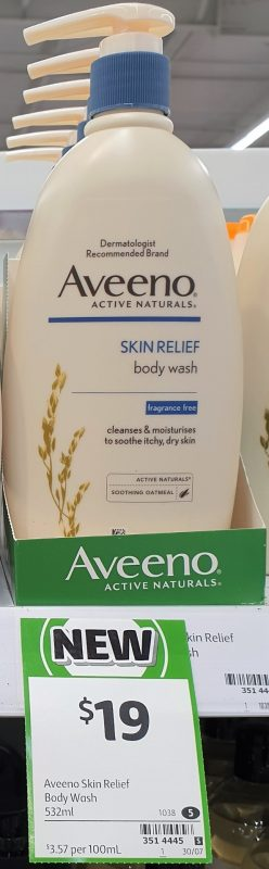 Aveeno 532mL Body Wash Skin Relief Fragrance Free