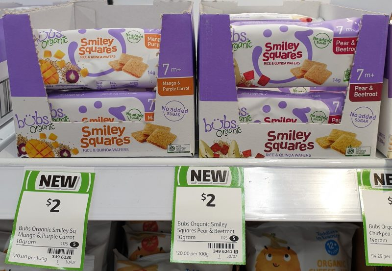 Bubs Organic 10g Smiley Squares Wafers Mango & Purple Carrot, Pear & Beetroot