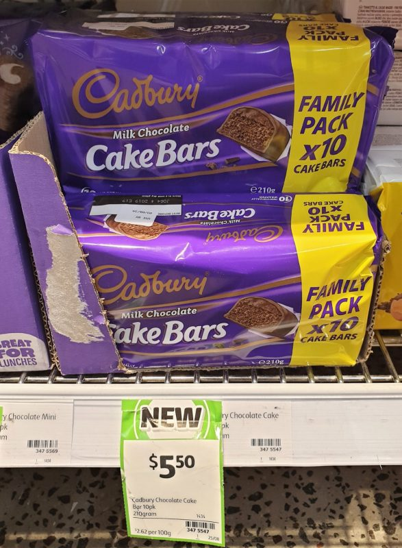 Cadbury 210g Cake Bars Milk Chocolate