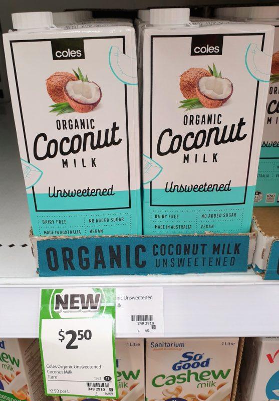 Coles 1L Coconut Milk Organic Unsweetened