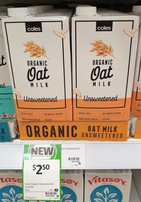 Coles 1L Oat Milk Organic Unsweetened