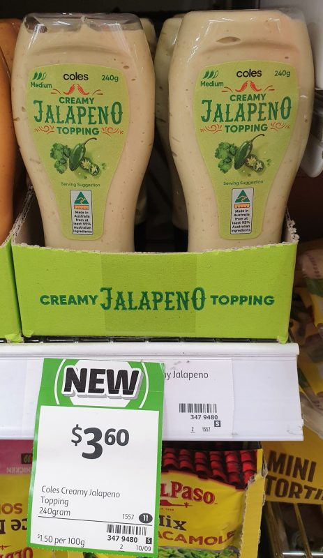 Coles 240g Topping Jalapeno Creamy