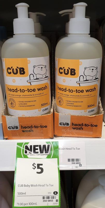 Coles 500mL Cub Wash Head To Toe
