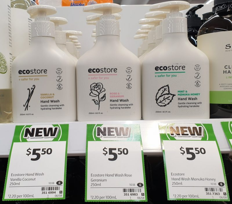 Ecostore 250mL Hand Wash Vanilla & Coconut, Rose & Geranium, Mint & Manuka Honey