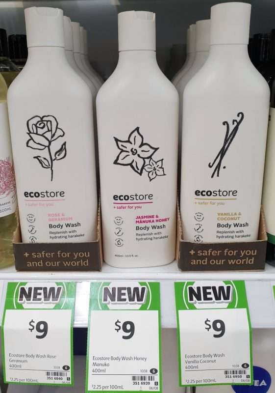 Ecostore 400mL Body Wash Rose & Geranium, Jasmine & Manuka Honey, Vanilla & Coconut