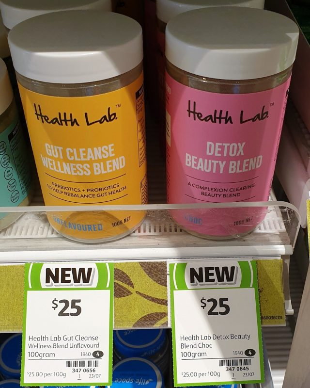 Health Lab 100g Wellness Blend Gut Cleanse Unflavoured, Beauty Blend Detox Choc