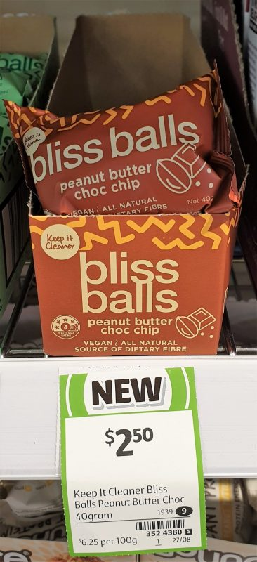Keep It Cleaner 40g Bliss Balls Peanut Butter Choc Chip