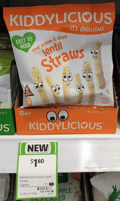 Kiddylicious 15g Straws Lentil Sour Cream & Chive
