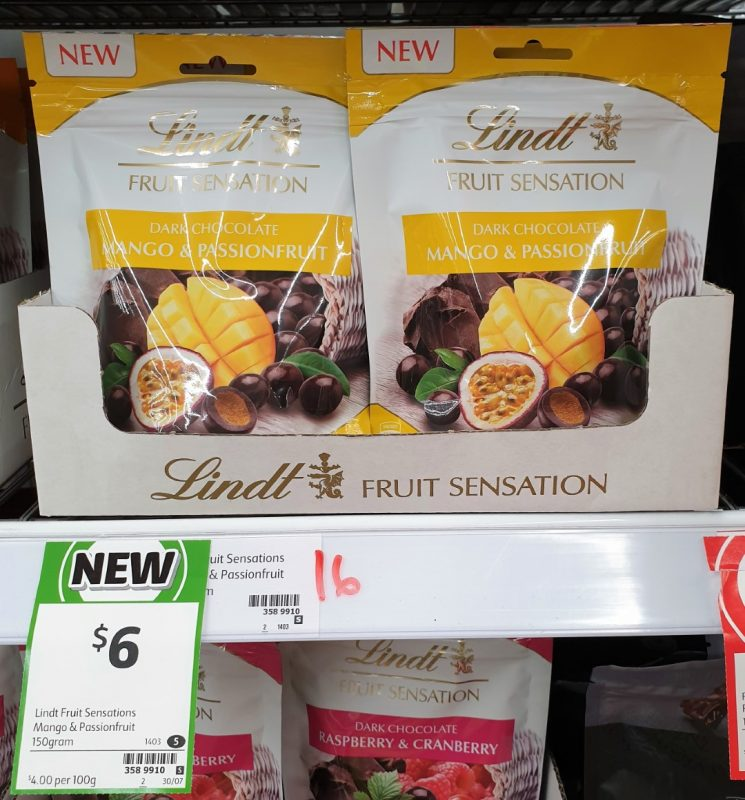 Lindt 150g Fruit Sensation Dark Chocolate Mango & Passionfruit