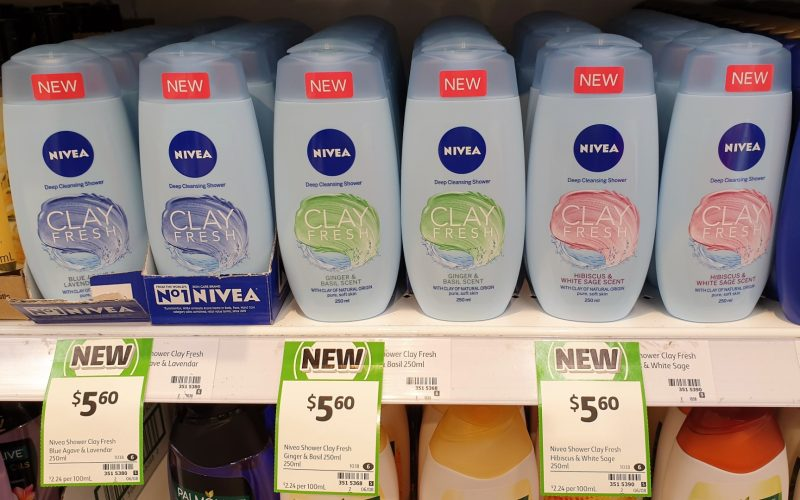 Nivea 250mL Deep Cleansing Shower Clay Fresh Blue Agave & Lavendar, Ginger & Basil Scent, Hibiscus & White Sage Scent