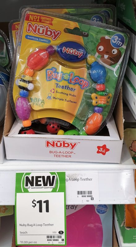 Nuby 1 Pack Teether Bug A Loop