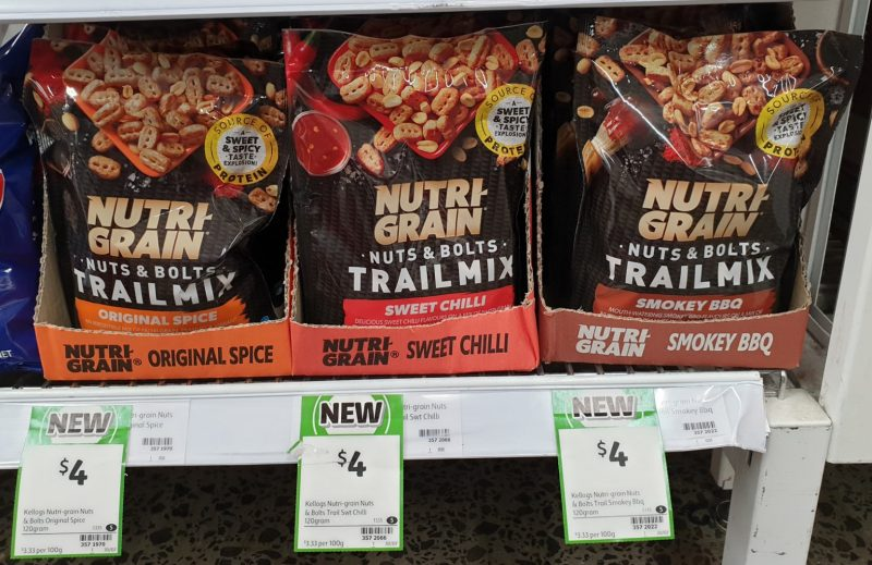 Nutri Grain 120g Trail Mix Original Spice, Sweet Chilli, Smokey BBQ