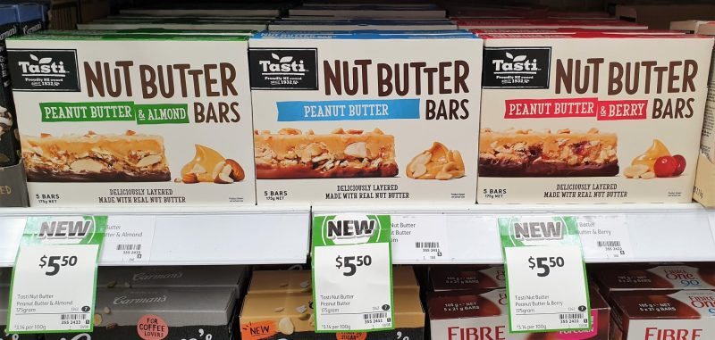 Tasti 175g Bars Peanut Butter & Almond, Peanut Butter, Peanut Butter & Berry